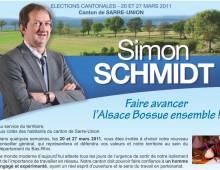 Canton de Sarre-Union : Profession de foi de Simon SCHMIDT pour le 2ème tour