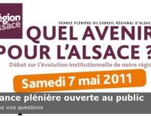«Quel avenir pour l'Alsace ?» – Séance plénière du Conseil Régional d'Alsace le samedi 7 mai de 9H à 11H