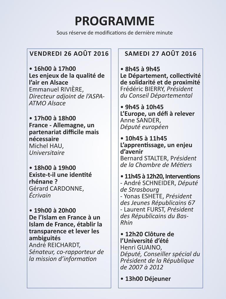 Programme Université Eté Bas-Rhin 2016