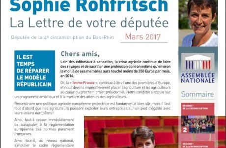 La Lettre d'information parlementaire de Sophie ROHFRITSCH – mars 2017